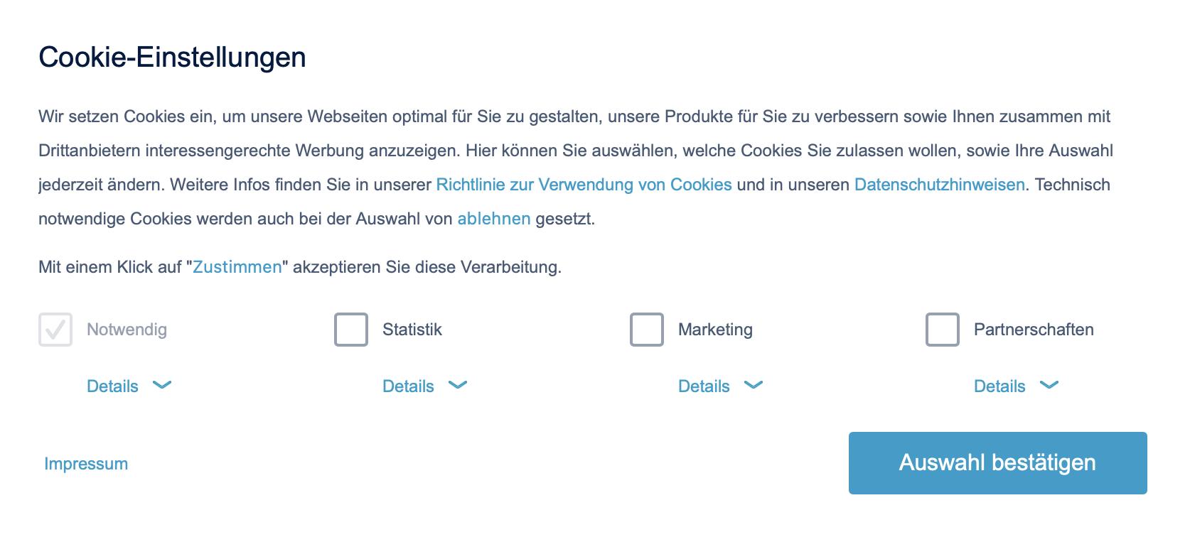 Rechtssicherer Cookie-Banner