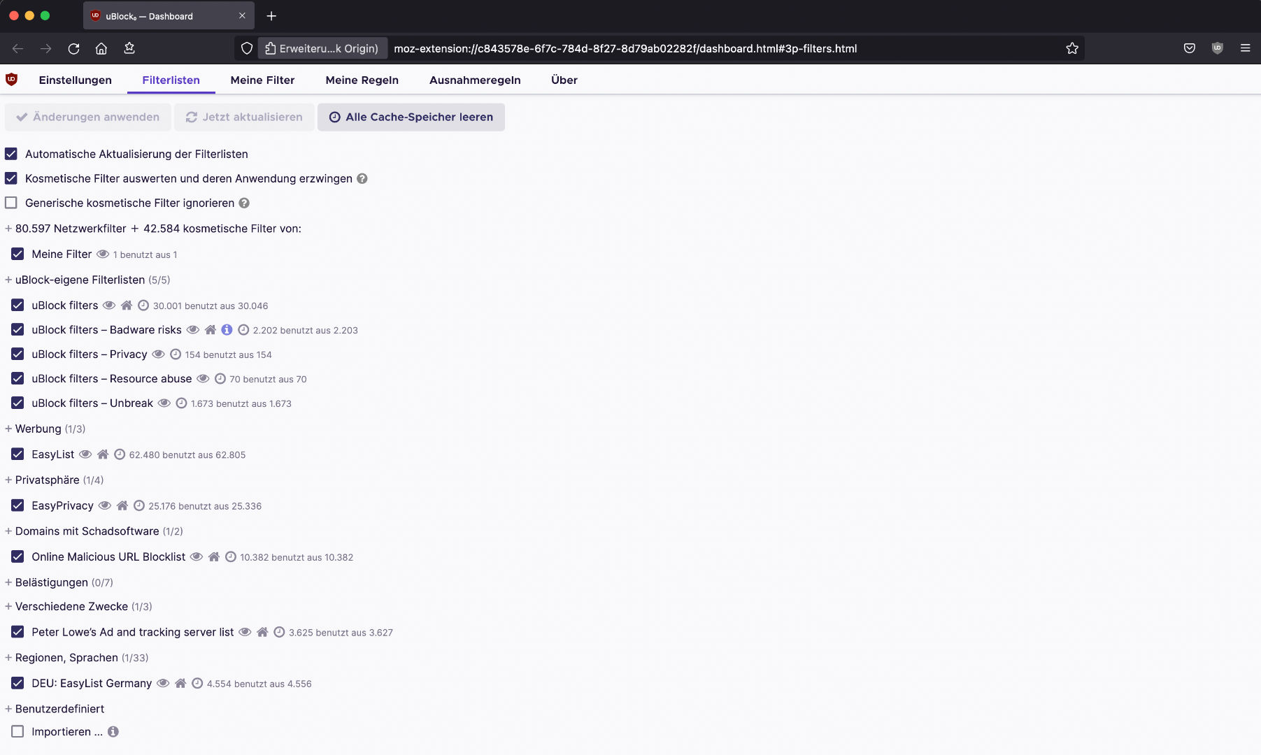 uBlock Origin Filterlisten