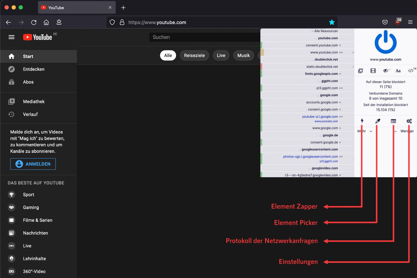 uBlock Origin Popup User Interface